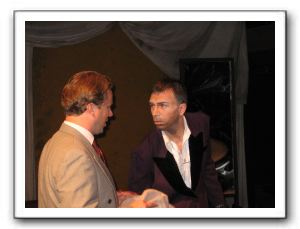 Terry (Patrick McMahan) negotiating with the Boss (Joshua Redford)