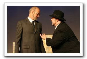George Kitchen as Antonio (left) and Jay Tilley as Shylock