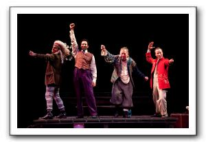 Jesse Terrill as Mortimer, Sebastian La Cause as El Gallo, Laurence O'Dwyer as Henry and Nate Dendy as The Mute