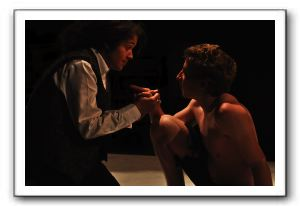 King Lear (Natasha Soloman as King Lear and Kelley Van Dilla as Edgar)