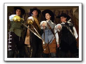 Ian Blackwell Rogers, John Morogiello, Bette Cassatt and Erin Steenson as Athos, Porthos, D'Artagnan and Aramis