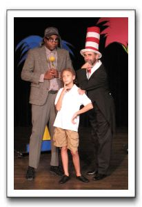 Kevin Ray Johnson as Horton, Kaycie Goral as JoJo and Ken Kemp as The Cat in the Hat