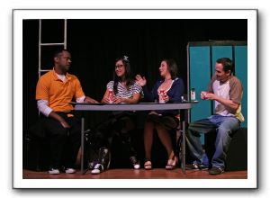 Patrick M. Doneghy (C.B.), Kat Sanchez (Marcy), Nicole Jacobs (Tricia), and Shawn g. Byers (Matt)