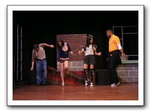 Shawn g. Byers (Matt), Nicole Jacobs (Tricia), Kat Sanchez (Marcy), and Patrick M. Doneghy (C.B.)