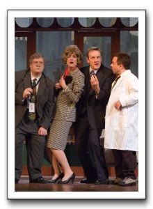 Jeffrey Clark as Dr. Hubert Bonney, Rachel Hubbard as Rosemary Mortimore, Mark Lee Adams as Dr. David Mortimore, and Brian Clarke as Dr. Mike Connolly
