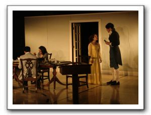 Will MacLeod (Valentine), Sara Joy Lebowitz (Hannah), Charlotte Guthery (Thomasina) and Michael Feidt (Septimus) overlap time periods, discussing love