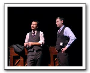 Joshua Redford as Aaron Fox (left) and Blakeman Brophy as Lt. Frank Cioffi