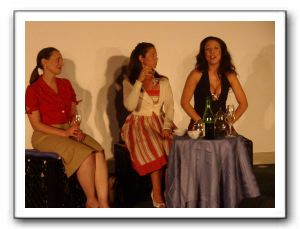 Kathy (Pamela Sabella), Joanne (Carla Francischetti), Mary (Natalie Christina) 7 years after graduating from high school at a reunion tea party.