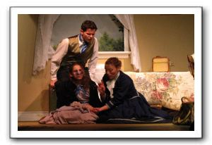 Brandon Dawson as James Keller, Mackenzie Earl as Helen Keller, and Sarah LaFantasie as Annie Sullivan
