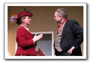 Carrie Parsons as Kate Keller and Evan Jones as Captain Keller