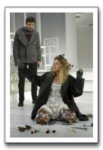 Lindsay Wochley as a mad Ophelia and Justin Adams as her brother, Laertes.
