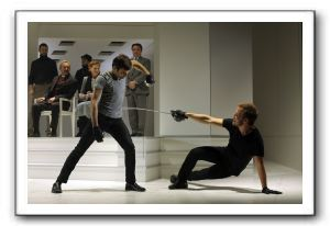 Laertes (Justin Adams) and Hamlet (Graham Michael Hamilton) in an ill-fated duel in the final scene of Hamlet.