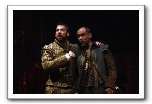 Ian Merrill Peakes as King Henry VIII and Louis Butelli as his fool, Will Sommers
