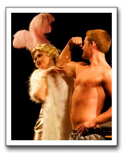 Mae West (Rachel Hardin) and Muscleman (Johnno Wilson)