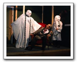 Kevin Harr (Jacob Marley's Ghost), Steve Izant (Ebenezer Scrooge), and Kathleen Lovain (Young Jacob Marley's Ghost)
