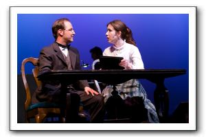 Brent Stone as Prof Bhaer with Mimi Preda as Jo March