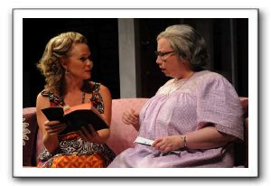 Melissa (Beth Hylton) tries to explain why Margaret (Michele Tauber) is wrong in her religious thinking