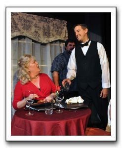 Beth Hughes-Brown (Olive), Michael Donahue (Ray), and David Crowley (waiter)