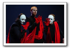 Peter Pereyra, Philip Fletcher, and Scott Brown as Brutus, Octavian, and Cassius