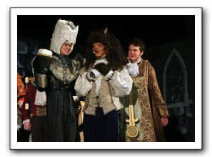 Beast (Justin Wykowski), Lumiere (Andrew Minarik) and Cogsworth (Dillon O'Doherty)