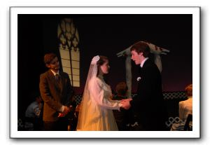 The Wedding - Editor Webb (Ian Blau) Emily (Virginia Tucker) and George (Jack Tokarz)
