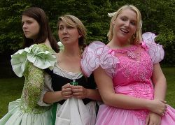 Lisa Gregg as Joy, Pam Shilling as Cinderella, and Malarie Novotny as Portia