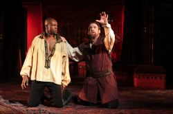 Owiso Odera as Othello and Ian Merrill Peakes as Iago