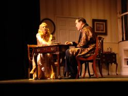 Mary Koster as Billie Dawn and Sandy Irving as Harry Brock playing gin