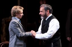 Julia Coffey as Portia and Mark Nelson as Shylock