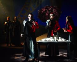 Scott Brown as Cassio, Roger Payano as Othello, and Philip Fletcher, Irina Tsikurishvili, and Alex Mill as Iago