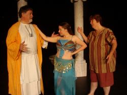 Pseudolous (Jim Mitchell), Tintinabula, a courtesan from the House of Marcus Lycus (Colleen Conner), Hysterium (Denise Mattingly)