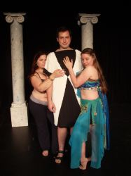 One of the Geminae twins, a courtesan (Bethany Michel), Marcus Lycus (Justin Mohay), Tintinabula, a courtesan (Colleen Conner)