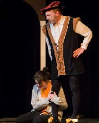 Dell Pendergrast as Lord Capulet and Emily Whitworth as Juliet