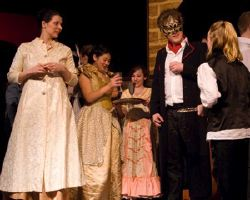 Amanda Kirby as Lady Capulet, Erik Harrison as Mercutio, Chorus as Samantha White and Lily Penn