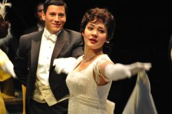 Nicholas Rodriguez as Freddy Eynsford-Hill and Manna Nichols as Eliza Doolittle