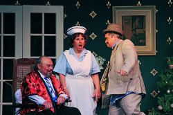 Jack Seeley as Sheridan Whiteside; Kathleen Donovan as Miss Preen; Joe Bersack as Banjo