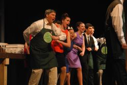 Mr. Twimble and ensemble, played by Wesley Diener, Emily Jennings, Sofia McKewen, Jenna Robinson and Noah Calderon