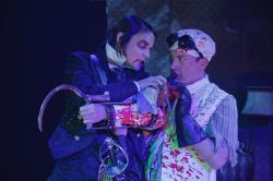Lisa Hodsoll as Captain Hook and Adam Downs as Smee