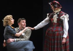 Jason Lott charms his way with his feminine wiles as he hounds and hunts Richard Hannay (Jeffries Thaiss) and Anabella (Susan Lynskey)