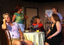 Table: Tina Anderson as Sheree Hollilnger, Gayle Grimes as Vernadette Simms and Laura Champe Mitchell as Jeri Neal McFeeley. Standing: Barbara Hayes as Lexie Richards and Kacie Greenwood as Dinah Grayson