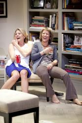 Vanessa Lock (left, as Annette) and Naomi Jacobson (as Veronica) share a laugh and a drink.
