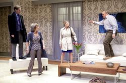 Michael (Andy Brownstein, far right) makes a stand as Alan (Paul Morella), Veronica (Naomi Jacobson) and Annette (Vanessa Lock) look on.