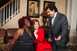 Jesus Costazvela (Adrian Vigil) lays on the charm for Olive (Vicki Sanders) and her roommate Flo (Beverly Pruzina)