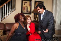 Jesus Costazvela (Adrian Vigil) lays on the charm for Olive (Vicki Sanders) and her roommate Flo (Beverly Pruzina)