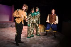 Eben Kuhns (The Prince), Anna Jackson and Chris Galindo (two-headed monster), Jason Krage (The Squire)