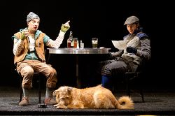 Euan Morton as Launce, Adam Green as Speed and Oliver, the dog, as Crab