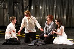 Nick Dillenburg as Proteus, Andrew Veenstra as Valentine, Miriam Silverman as Julia and Natalie Mitchell as Silvia