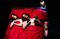 Irina Tsikurishvili as Katherine, Ryan Sellers as Petruchio, Alex Mills as Grumio