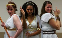 Charlie's Angels (Mikki Barry as Rhodippe, Lisa Hill-Corley as Lysistrata, and Rebecca Hranj as Lampito)