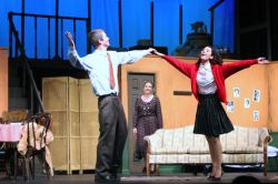 Catherine Ariale & Drew Holcombe dance as Anne & Otto Frank as Rachel Steiner (Mrs. Van Daan) watches